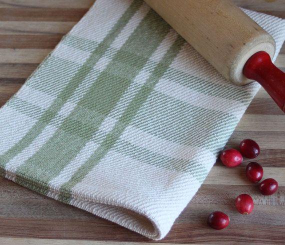 Handwoven Tea Towel Sage Green Ivory Farmhouse Plaid Kitchen
