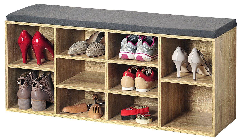 Hallway storage rack  Kesper Banc de rangement à chaussures Avec coussin duassise Chêne