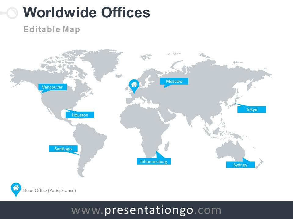 worldwide offices powerpoint worldmap