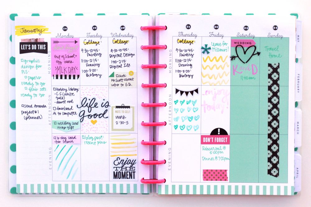 The Happy Planner™ Layouts, Planners and Happy planner - layout of an agenda