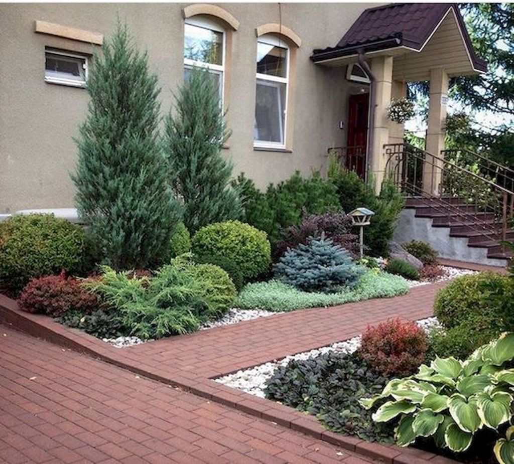60 Beautiful Front Yards And Backyard Evergreen Garden Design Ideas 52 Ar Front Yard Landscaping Design Small Front Yard Landscaping Front Yard Landscaping