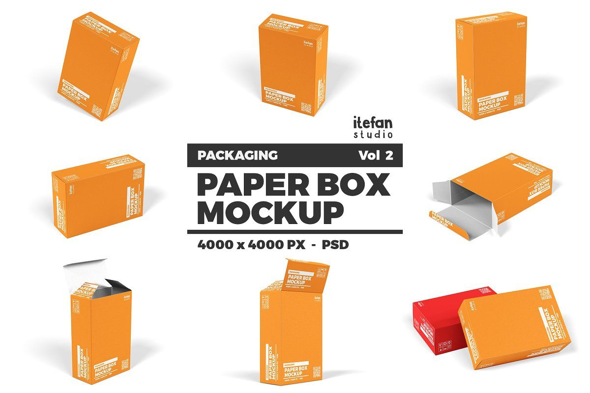 Download 15 Crushed Paper Halftone Textures Box Mockup Paper Box Packaging Mockup