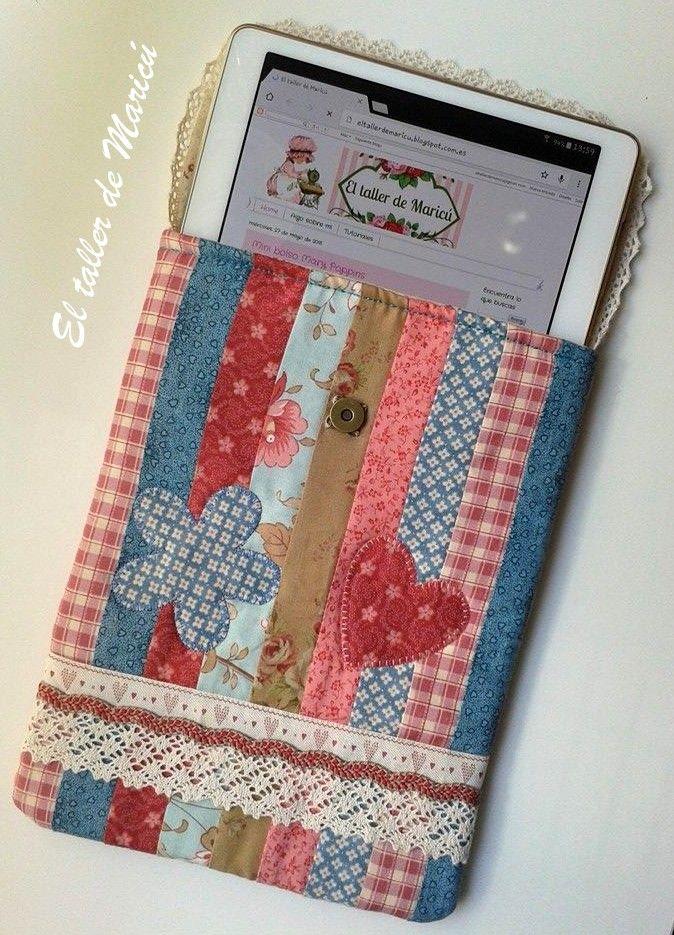 El taller de maric funda para la tablet bolsos y monederos - Proyectos de patchwork ...