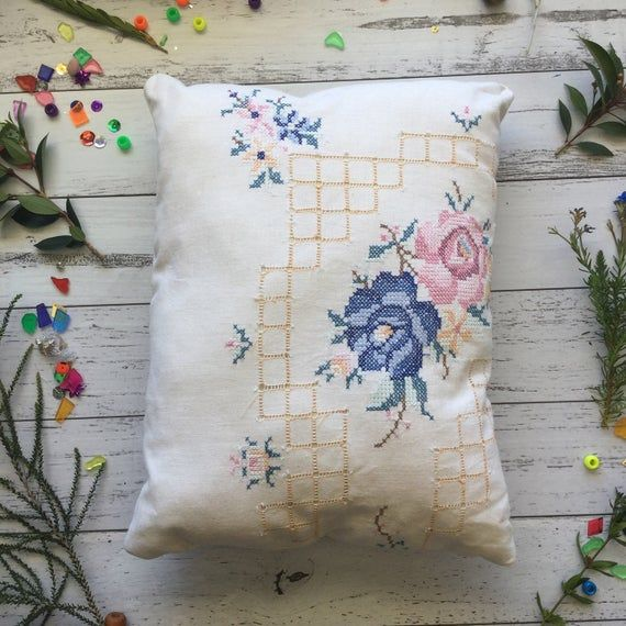 Vintage Mini Cushion // Antique embroidery with floral flowers and geometric square patterns, hand s