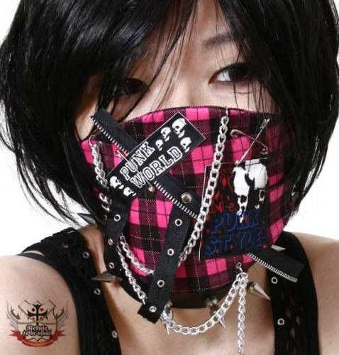 CUTiE Tokyo Hysteric Neon PINK Plaid Mask F