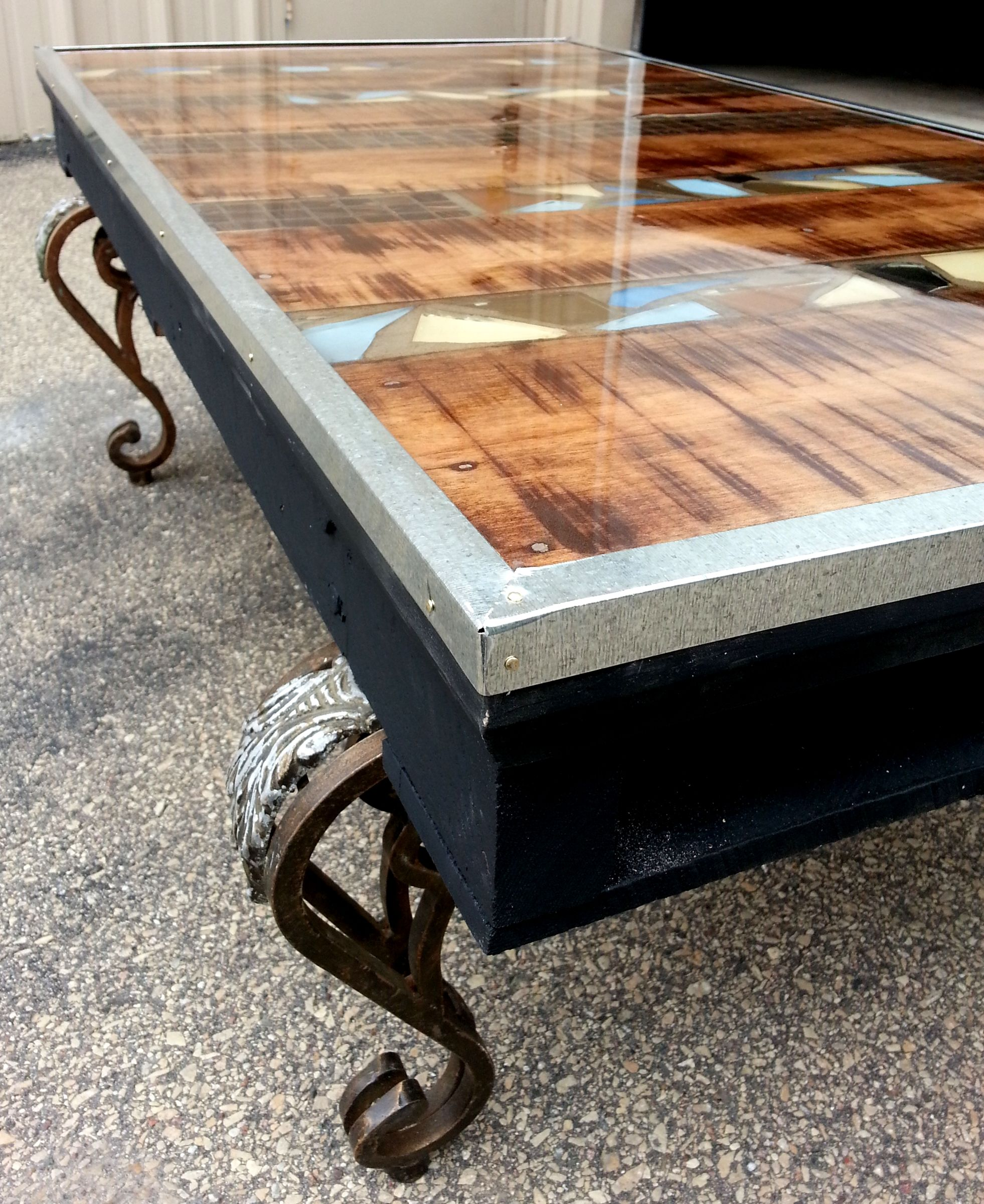 Decorative 48x 28 coffee table created with the use of a pallet decorative coffee table created with the use of a pallet broken pieces of ceramic tile repurposed metal legs from a different coffee table epoxy coating doublecrazyfo Images