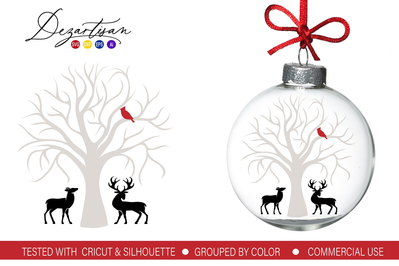 Christmas Cardinal Tree Deer SVG DXF cut fi Vinyl