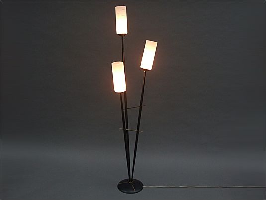 1950's French metal & glass floor lamp.