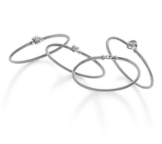 47358b552480 cable bracelets in sterling silver with diamonds the holiday gift