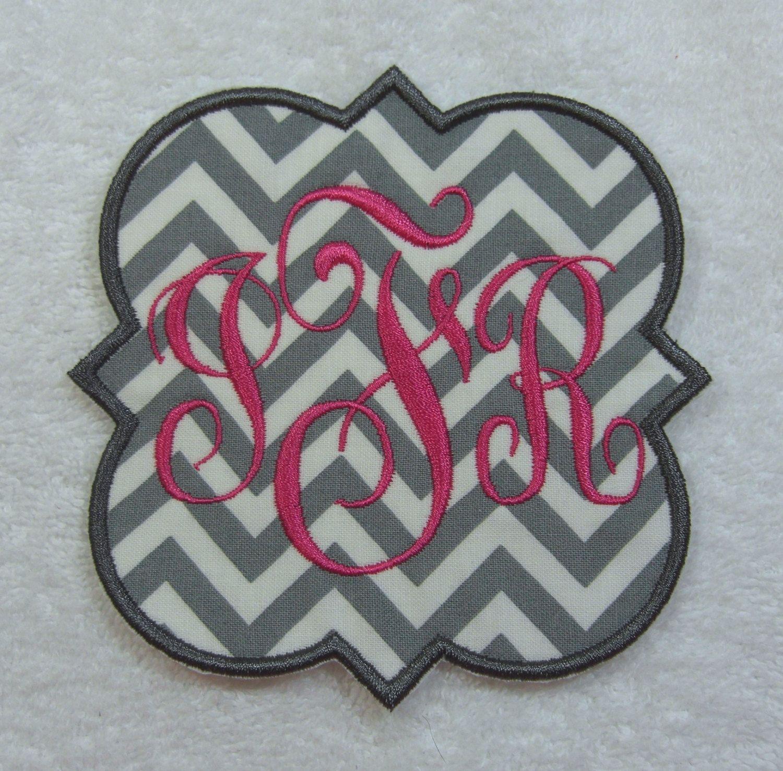 Iron on Monogram Quatrefoil Curly Triple Monogram