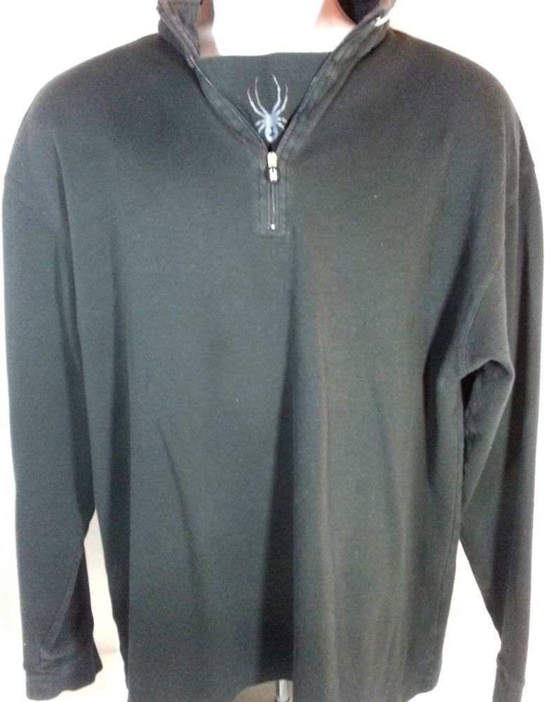 Mens Spyder Pullover 1/4 Zip  Long Sleeve #Ski Sweater jacket Black Size XL #Spyder #Pullover #Snowboard #Snowmobile