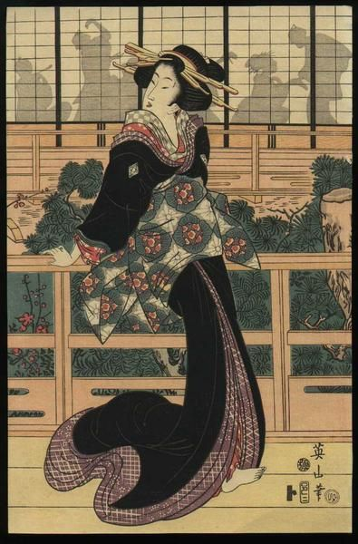 Entertainer standing on a veranda by Kikugawa Eizan