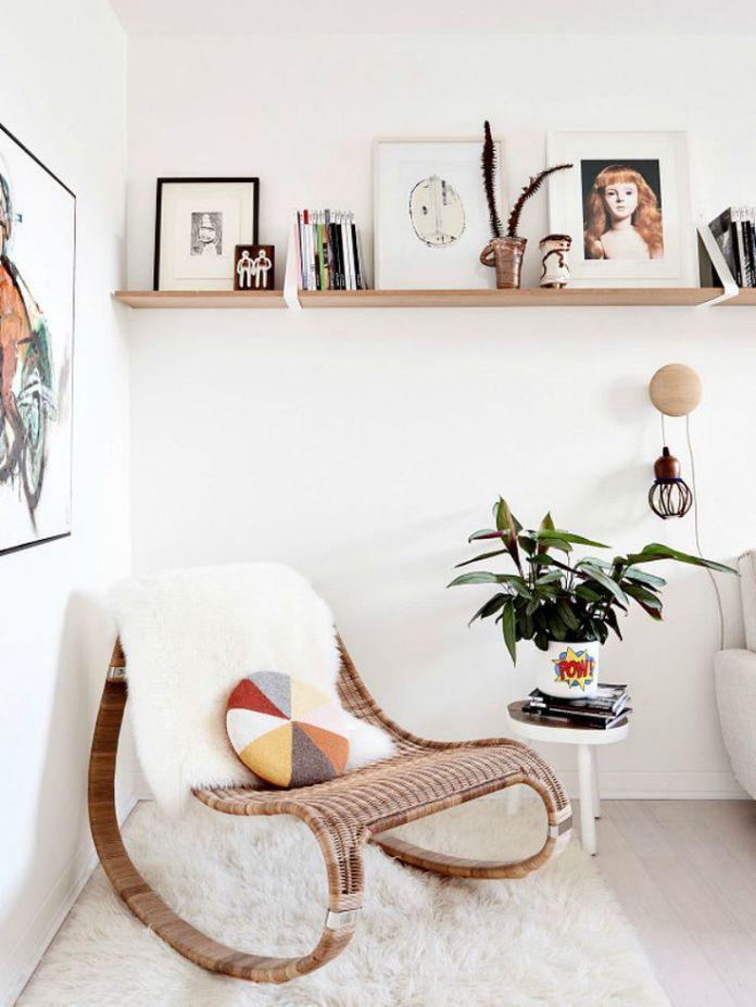 un coin sieste tr s cocooning avec ce rocking chair coup de coeur pour l 39 osier et le rotin. Black Bedroom Furniture Sets. Home Design Ideas