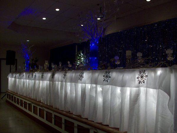 Reception Blue Table Silver Centerpieces Curly Winter Manzanita