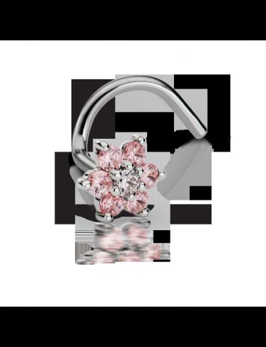 7540de0f1 Light Pink Diamond Flower Nostril Stud | Nostril Jewelry | Diamond ...