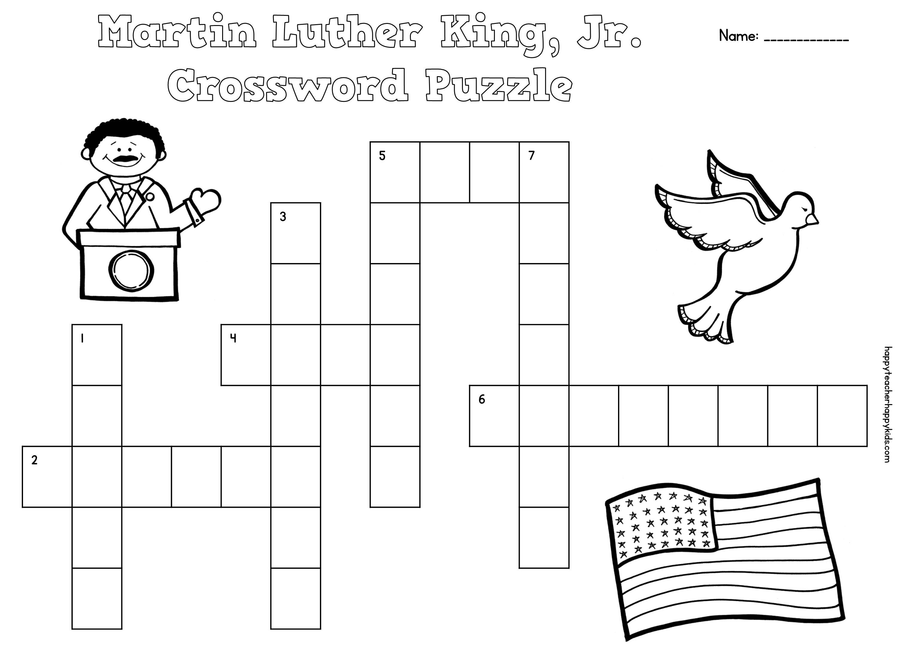 Free Martin Luther King Jr Crossword Puzzles For Primary Students Mlk