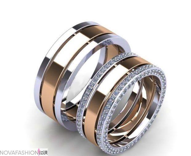 кольца обручальные с белого и желтого золота с огранкой из камней ccb9773bade
