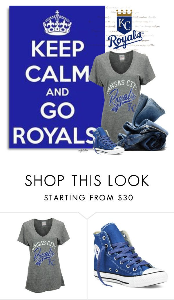 """""""Go Royals!!"""" by angkclaxton ❤ liked on Polyvore featuring 5th & Ocean, H&M, Converse, royals, worldseries, takethecrown, beroyal and foreverroyal"""