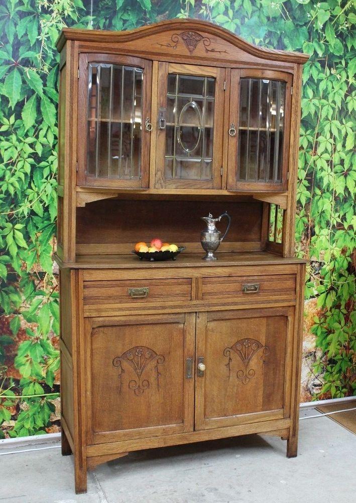 zauberhaftes antikes jugendstil buffet k chenbuffet eiche schnitzerei antike m bel. Black Bedroom Furniture Sets. Home Design Ideas