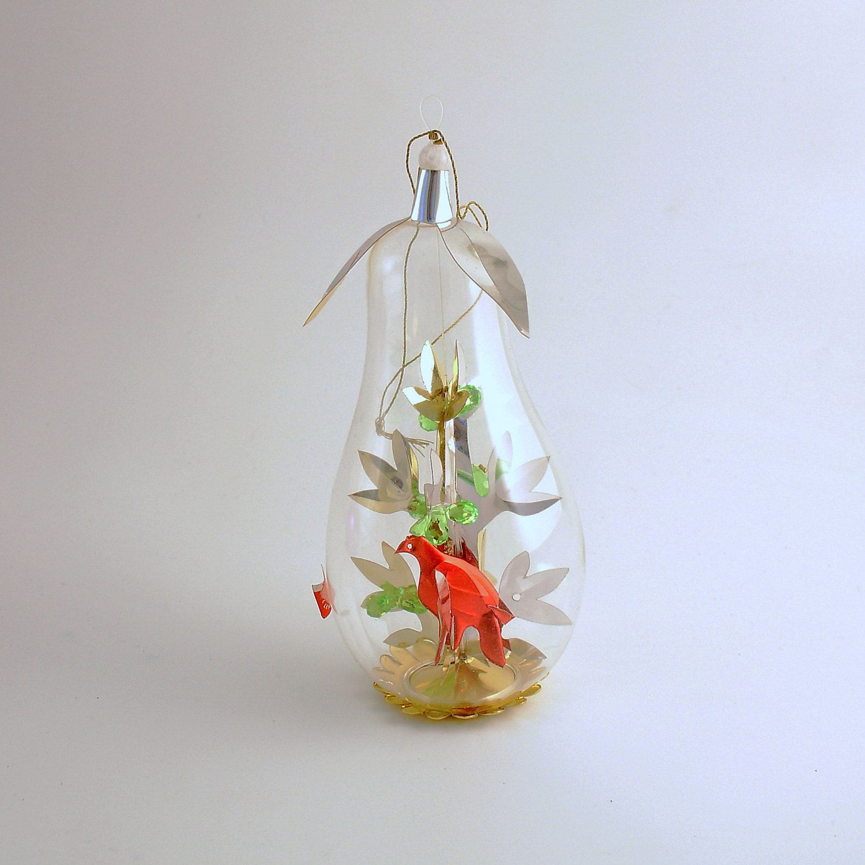 Vintage Christmas Ornament Partridge Pear Tree Glass ...