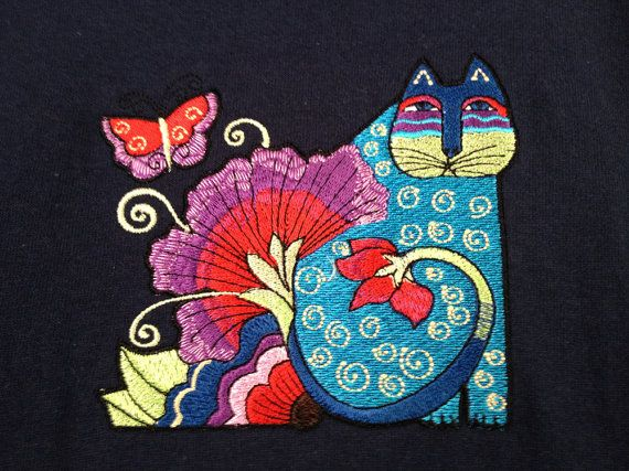 Pin By Tiki T On Artsy Fartsy In 2019: Laurel Burch Cat With Flutterby Embroidery Design On