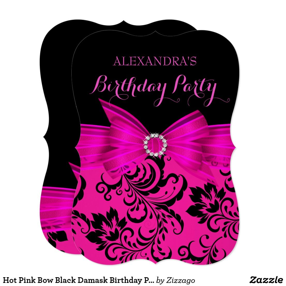 Hot Pink Bow Black Damask Birthday Party Card | Invitations ...