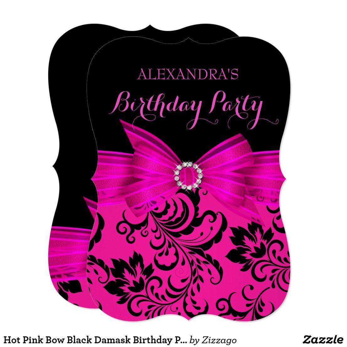 Hot Pink Bow Black Damask Birthday Party Invitation | Sweet sixteen ...