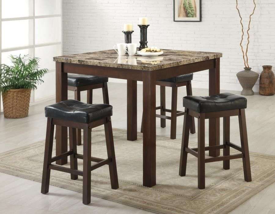 Sofie 5 Piece Marble Look Counter Height Dining Set With Images