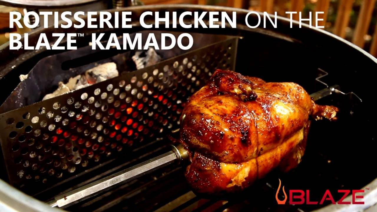 How To Make Rotisserie Chicken On The Blaze Kamado Charcoal Grill Bbqguys Com Youtube Rotisserie Chicken Rotisserie Kamado