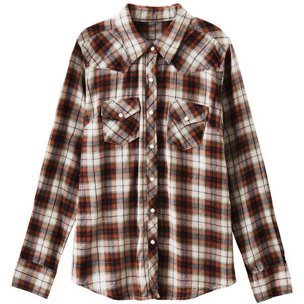 細ラインの☆が、耳元で揺れるアメリカンピアス ❤ liked on Polyvore featuring tops, blouses, shirts, plaid, plaid blouse, brown blouse, plaid shirt, plaid top and brown shirt