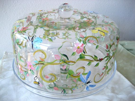 Hand painted cake plate cake dome on pedestal by TivoliGardens $54.00 & Hand painted cake plate cake dome on pedestal by TivoliGardens ...