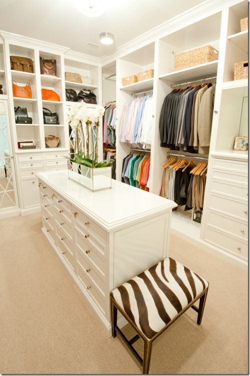 Walk In Closet But With Dark Wood Cabinets Show Builder To See If It Can Fit In Floor Plan Closet Island Walk In Closet Design Master Bedroom Closet