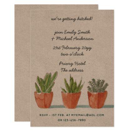 Kraft Succulents Cacti Wedding Invitation Informal