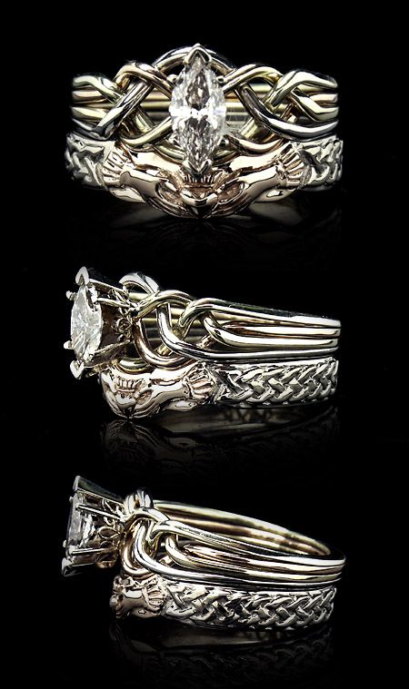 Celtic Wedding Rings Celtic Bridal Sets With Claddagh Shadow Bands Puzzle Rings Engagement Puzzle Rings Posy Rings Celtic Wedding Bands Celtic Wedding Rings Celtic Engagement Rings Celtic Wedding Bands