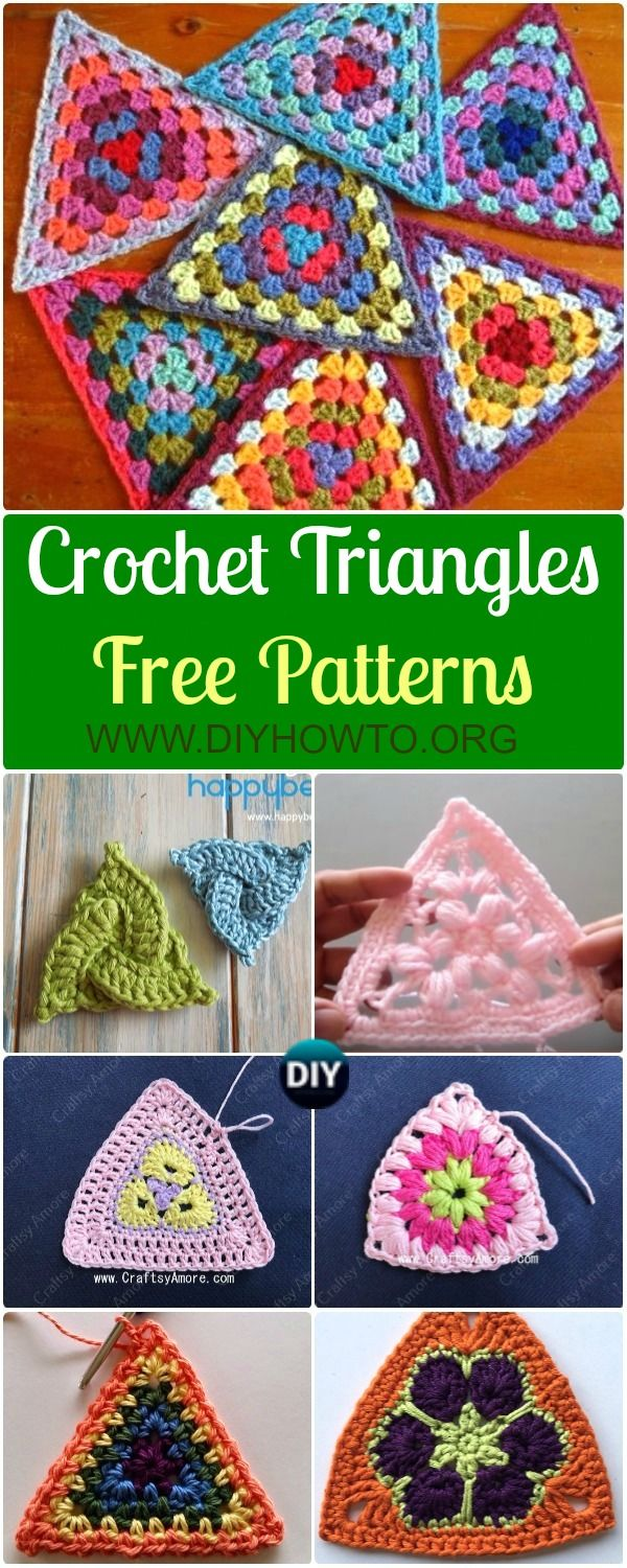 Crochet Triangle Free Patterns via @diyhowto | hook or stick or yarn ...