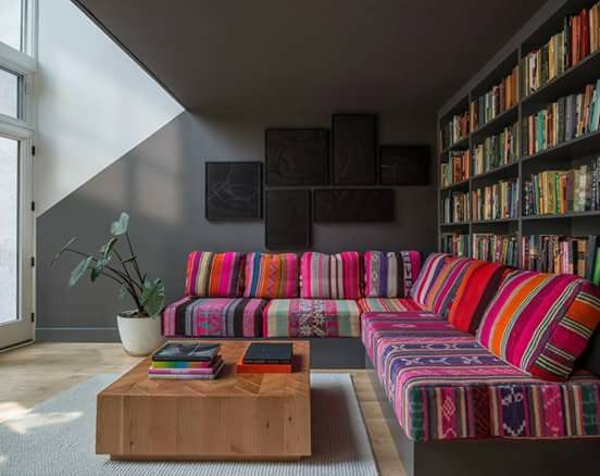 Coloured living room.