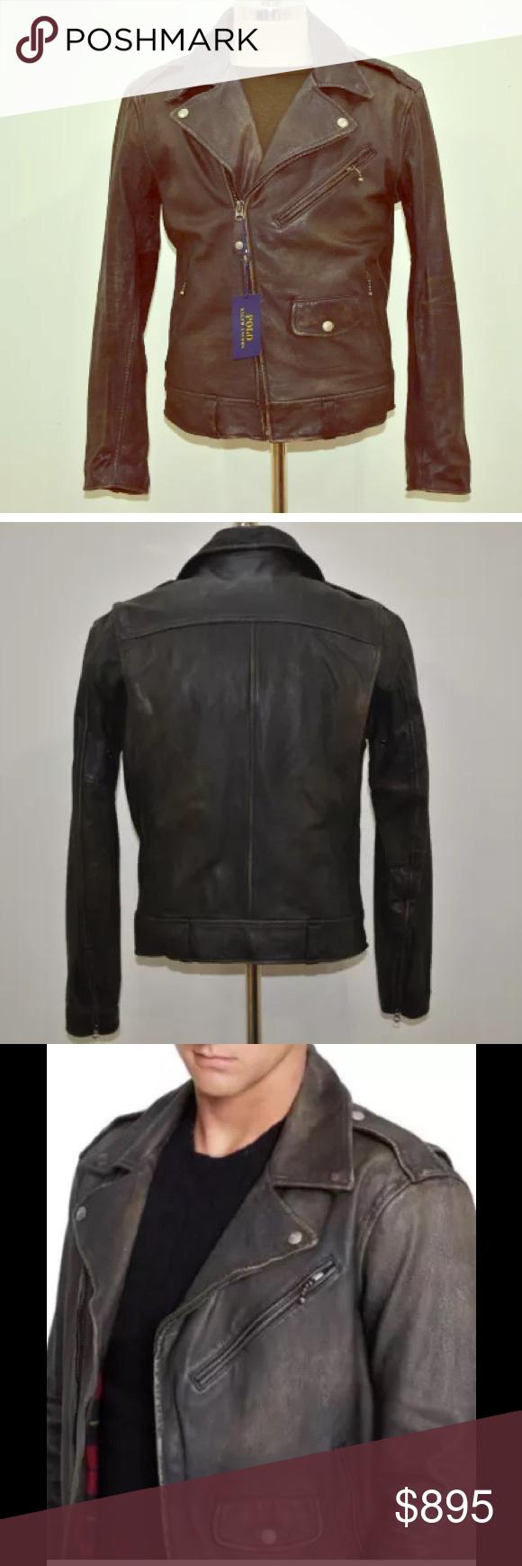 Men's Polo Ralph Lauren distressed leather jacket. Men's Polo Ralph Lauren brown distressed leather full-zip biker bomber jacket. (Small) with original tag. Polo Ralph Lauren Jackets & Coats Bomber & Varsity