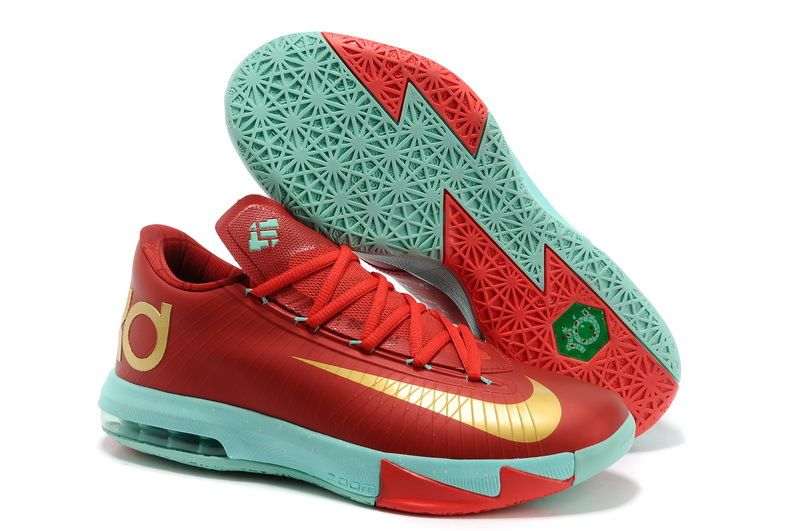 Nike KD VI Christmas Light Crimson Metallic Gold Green Glow Basketball Shoes