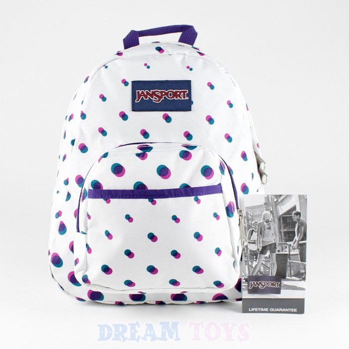 10' Mini Jansport Backpack in White - Blue Purple Polka Dot Girls ...