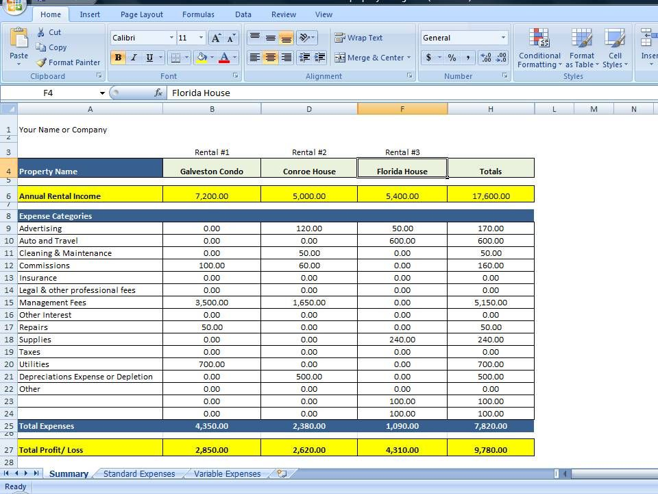 Spreadsheet Excel Template for Tracking Rental Income and ...