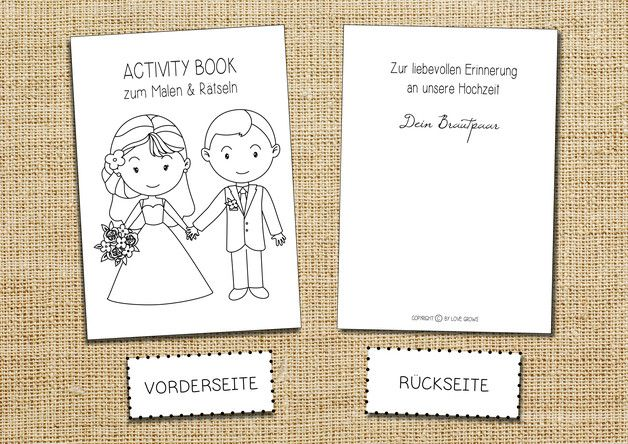 Activity Book Hochzeit Malen Ratsel Spass Kinder Gastgeschenk Give