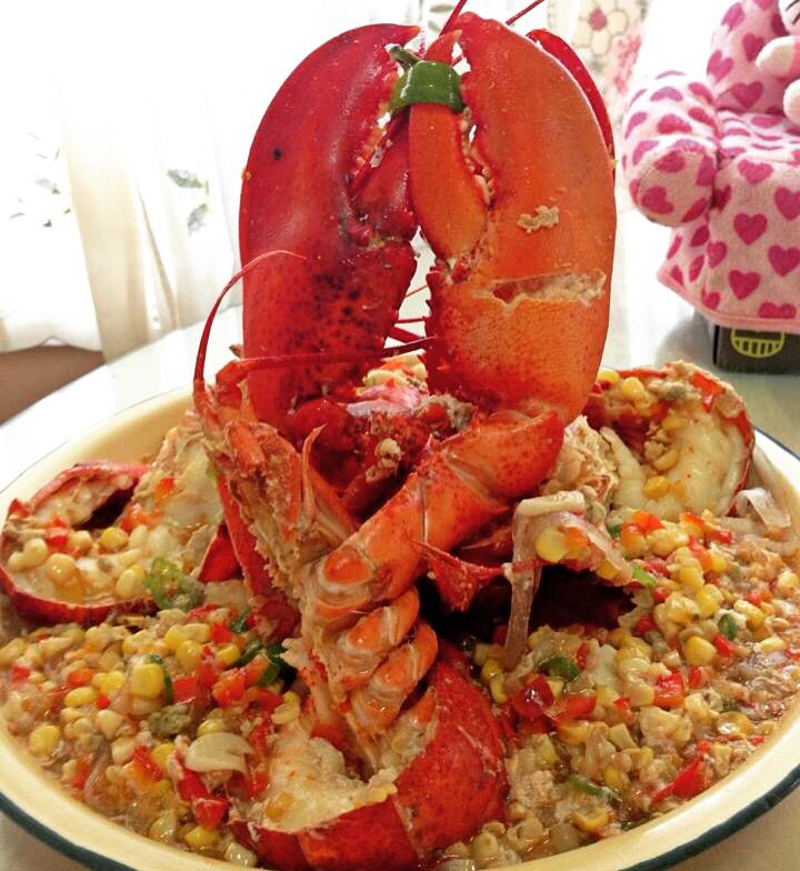 Homemade Maine Lobster with sweet corn and habanero