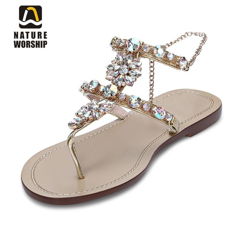 11fc045013981 Cheap Mujeres del cuero genuino zapatos rhinestones cadenas gladiador  Sandalias planas pisos de cristal mujeres playa