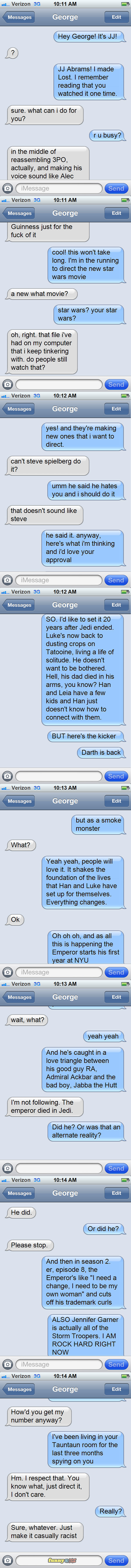 The iMessages conversation where George Lucas approved JJ Abrams for the new Star Wars movie