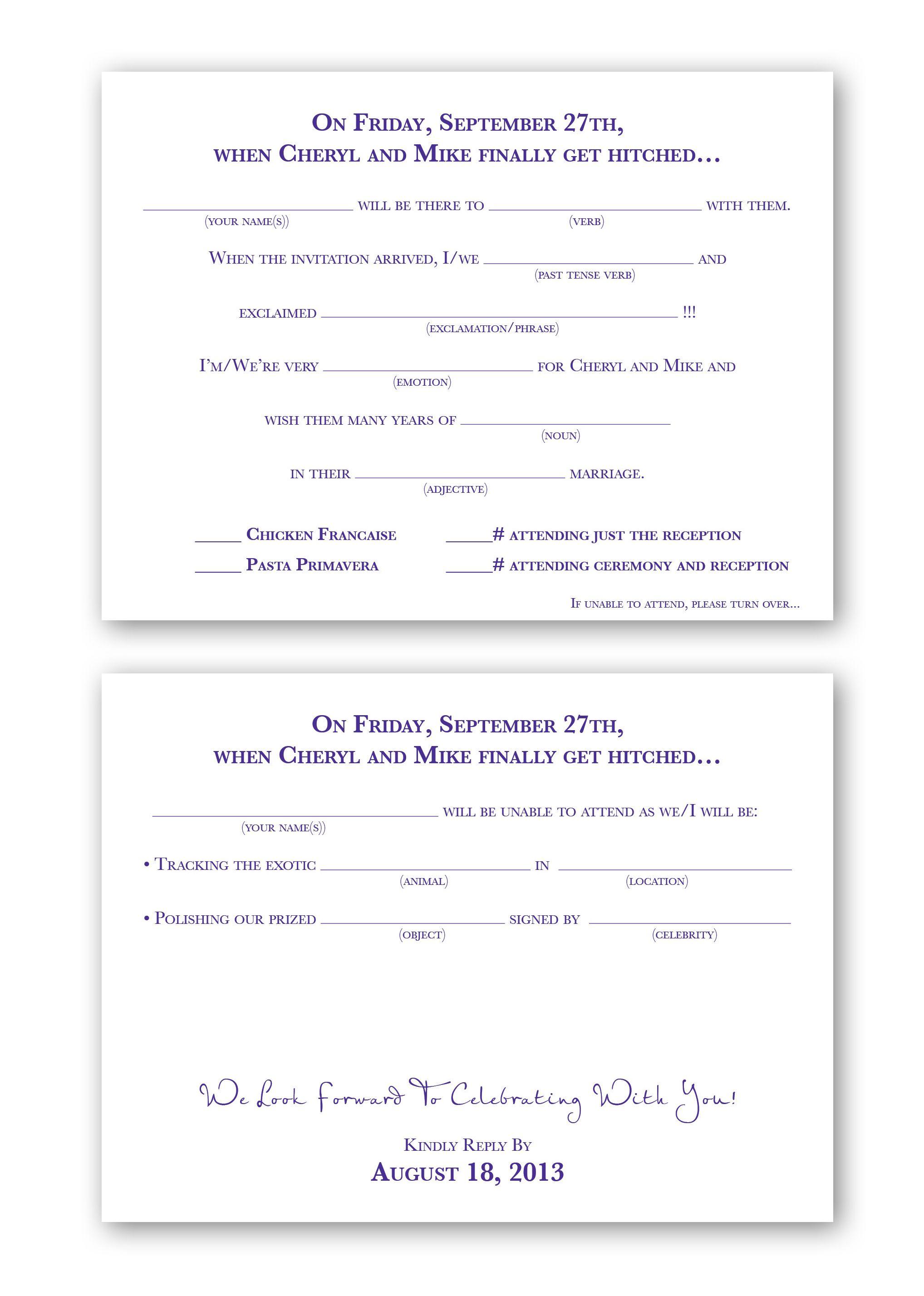 Mad Libs Wedding Reply Card | Kasey | Pinterest | Wedding reply ...