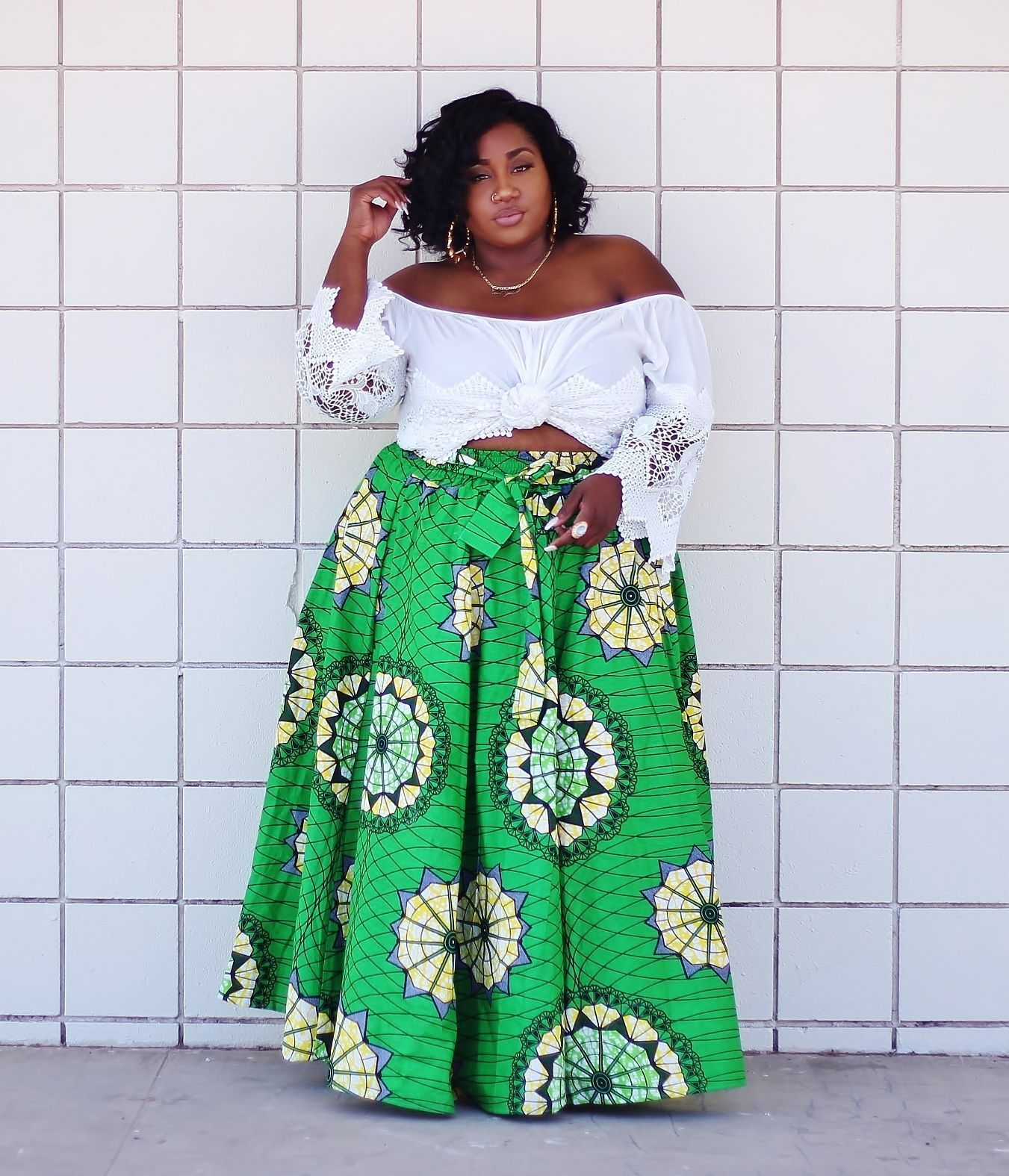 Chic: Green Pleated Maxi Skirt with African Pattern ...