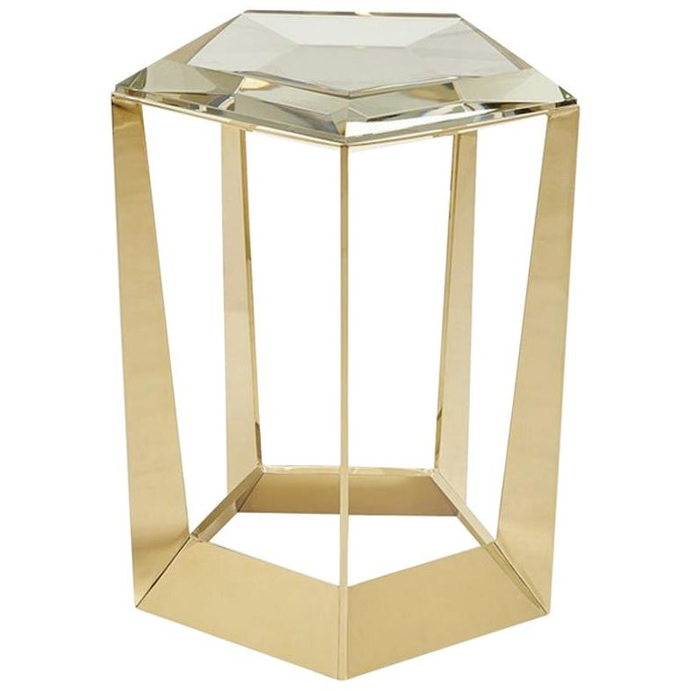 Diamony Side Table With Crystal Glass Top Copper Side