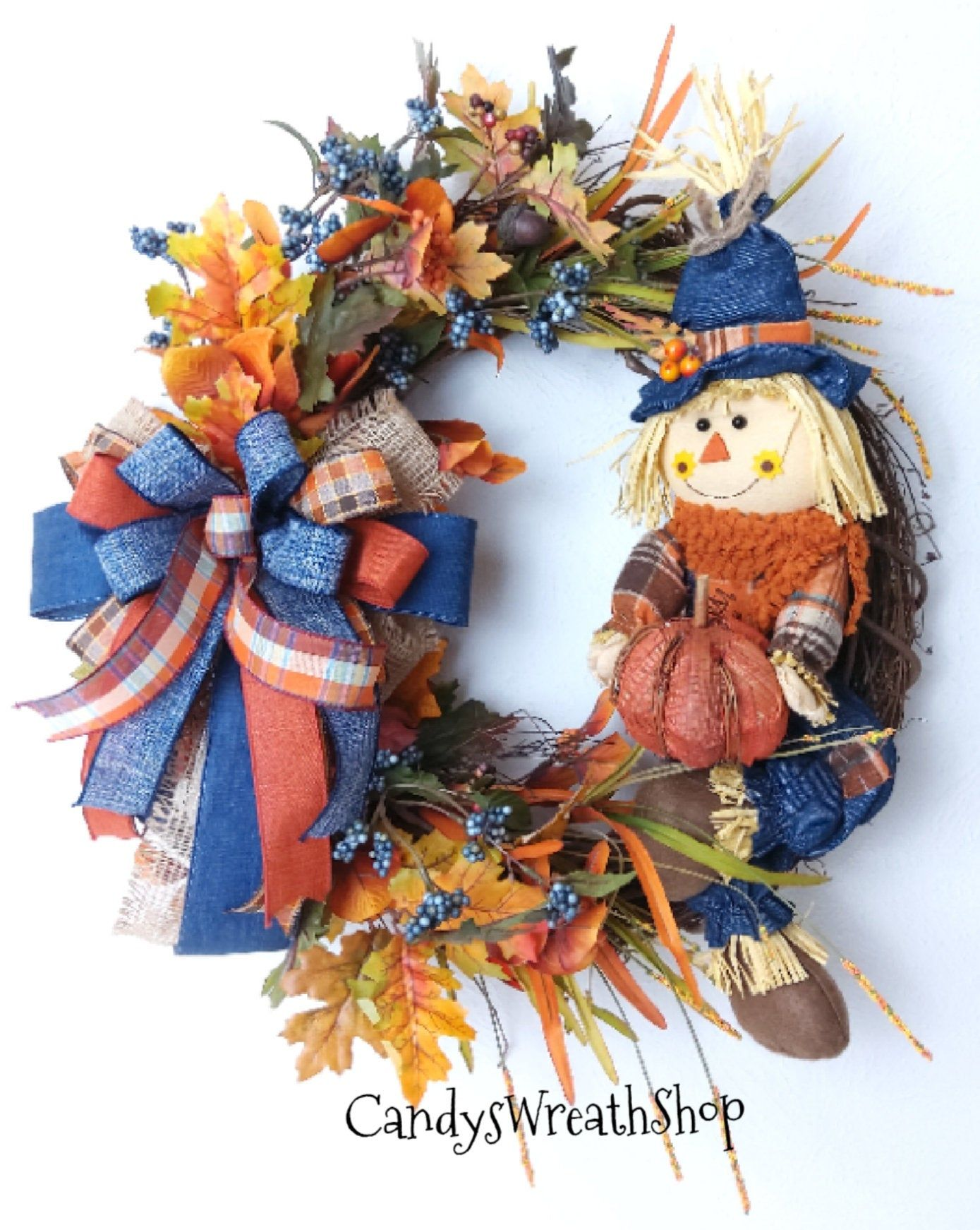 Fall Scarecrow Wreath, Scarecrow Grapevine, Autumn Wreath, Harvest Wreath, Scarecrow Wreath, Fall Decor, Grapevine Wreath, Fall Wreath, Fall #scarecrowwreath