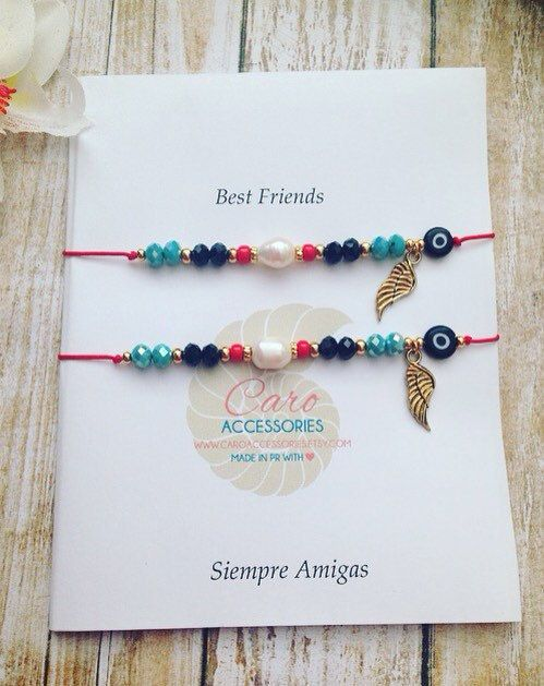 b0576e48b0fc Best friends bracelet set. Pulseras de mejores by CaroAccessories ...