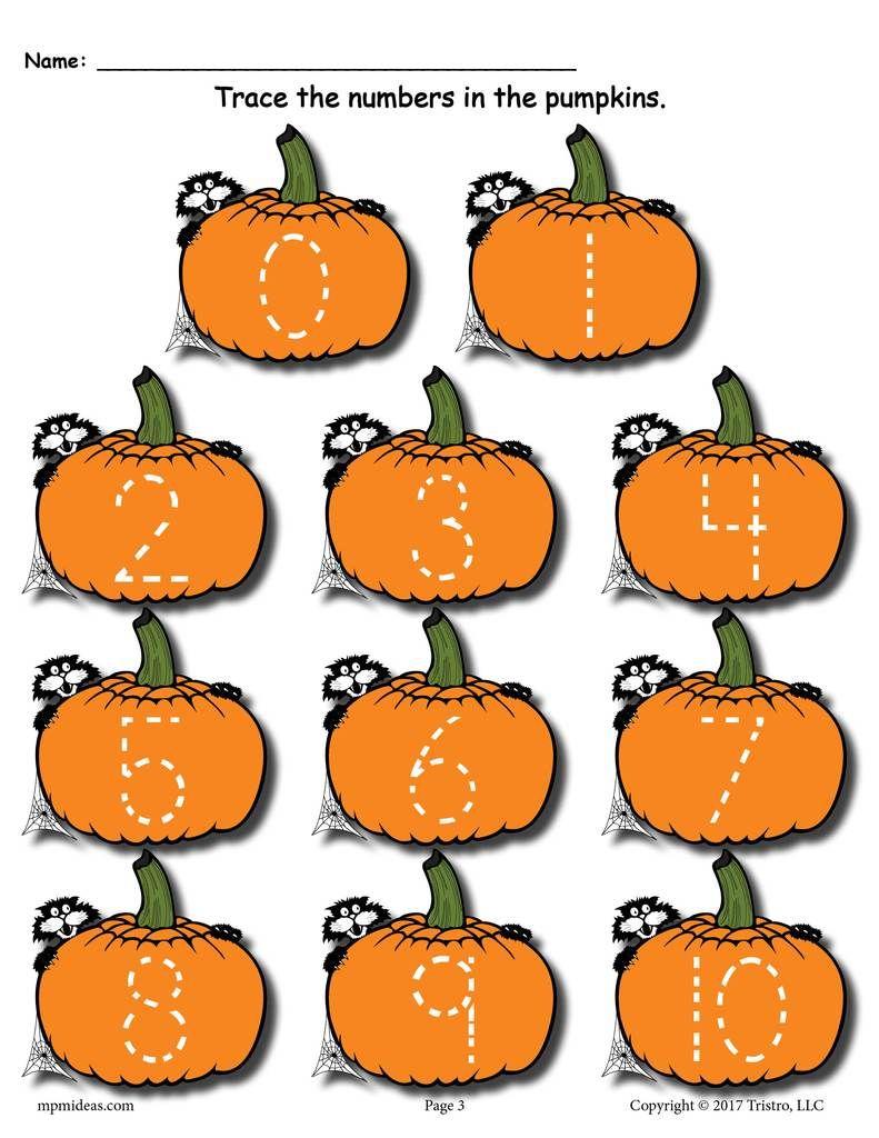 Printable Pumpkin Number Tracing Worksheets 1-20 ...